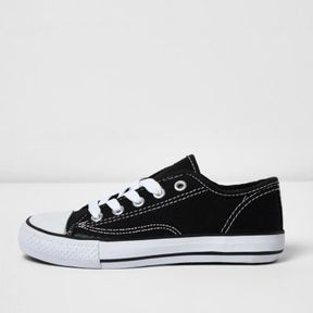 River Island Boys black low top lace-up plimsolls