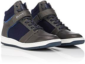 HUGO BOSS CANVAS & LEATHER ANKLE-STRAP SNEAKERS