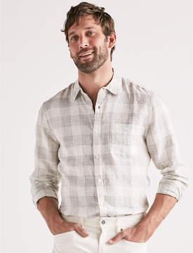 Lucky Brand Linen Blend Plaid One Pocket Shirt