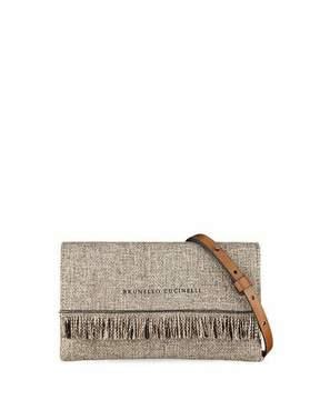 Brunello Cucinelli Woven Linen Crossbody Bag