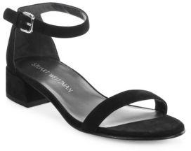 Stuart Weitzman Nudist June Suede Ankle-Strap Block Heel Sandals