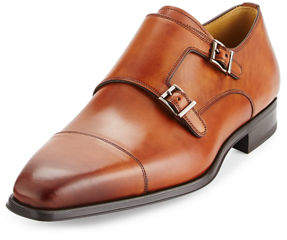 Magnanni Cap-Toe Leather Double-Monk Loafer