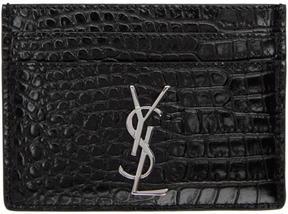 Saint Laurent Black Croc Monogram Card Holder - BLACK - STYLE