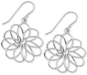 Essentials Openwork Flower Drop Earrings in Fine Silver-Plate