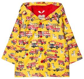 Hatley Yellow Trucks Print Fleece Lined Raincoat