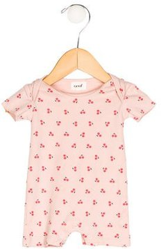 Oeuf Girls' Cherry Print Short Sleeve All-In-One
