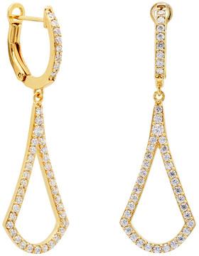 Crislu 18K Over Silver Cz Geometric Earrings