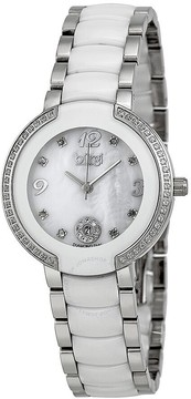 Burgi Mother Of Pearl Dial White Ceramic and Stainless Steel Ladies Watch