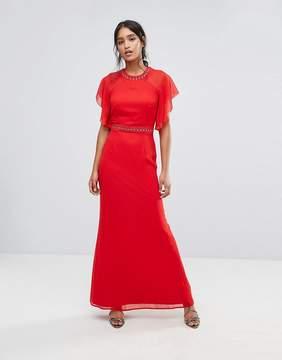 Elise Ryan Embellished Trim Maxi Dress With Fluted Sleeve