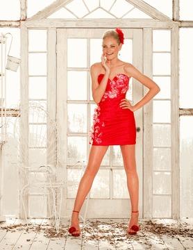 Blush Lingerie Floral Embellished Sweetheart Short Dress 9294