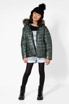 boohoo Girls Padded Faux Fur Hooded Coat