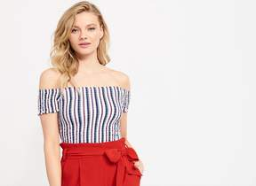 Dynamite SMOCKED OFF-THE-SHOULDER CROP TOP