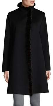 Fleurette Mink Fur Trim Wool Coat