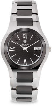 Croton Mens Black Ceramic Stainless Steel Watch