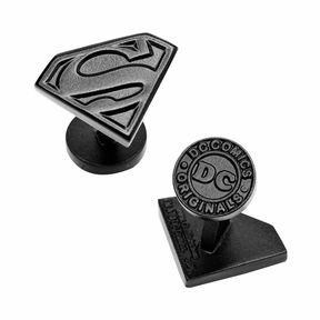 Accessories Licensed Satin Black Superman Shield Cufflinks