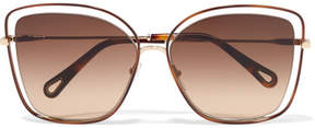 Chloé Poppy Cat-eye Acetate And Gold-tone Sunglasses - Brown