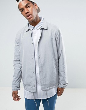 Herschel Voyage Packable Coach Jacket in Light Gray Crosshatch