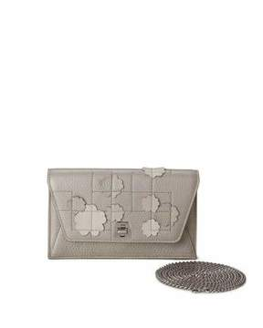 Akris Anouk Buttercup-Embellished Envelope Clutch Bag, Light Beige