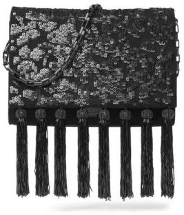 Michael Kors Yasmeen Suede and Sequin Beaded Clutch - BLACK - STYLE