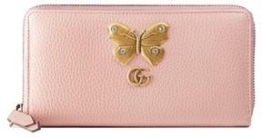 Gucci Women's Farfalla Zip Around Leather Wallet - Black - BLACK - STYLE