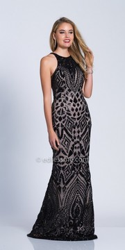 Dave and Johnny Lace-Up Back Halter Sequin Dress