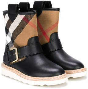 Burberry classic check buckle strap boots