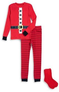 Petit Lem Little Boy's Three-piece Santa Top, Pants and Socks Pajama Set