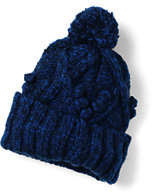 Lands' End Women's Aran Popcorn Knit Slouchy Hat-Blue Quartz