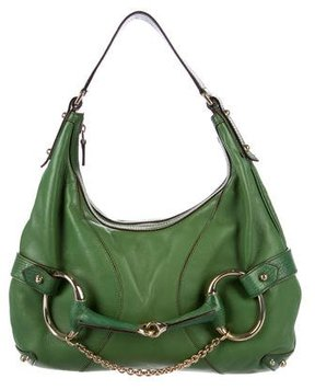 Gucci Leather Horsebit Hobo - GREEN - STYLE