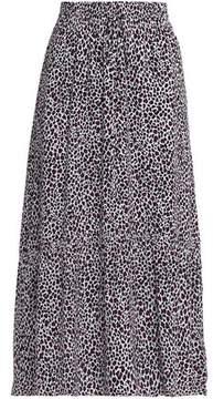A.L.C. Pleated Leopard-Print Silk Crepe De Chine Midi Skirt