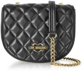 Love Moschino Black Superquilted Eco-leather Small Crossbody Bag