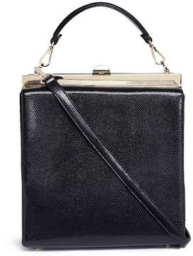 RODO Lizard embossed leather and suede shoulder bag