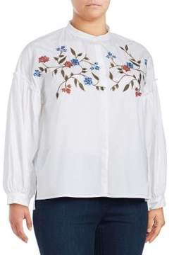 Vince Camuto Plus Embroidered Bubble Sleeve Embroidered Blouse