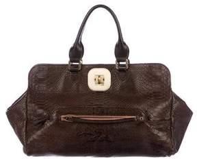 Longchamp Embossed Leather Satchel