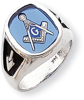 Ice 14k White Gold Enameled Synthetic Stone Mens Masonic Ring