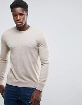 Benetton Cashmere Blend Sweater In Beige