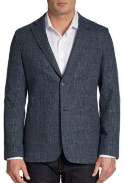 Saks Fifth Avenue BLACK Glen-Plaid Wool Tweed Sportcoat