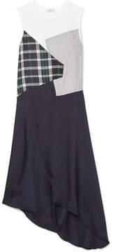 Clu Asymmetric Paneled Checked Cotton And Satin Dress - White