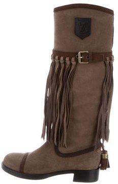 Louis Vuitton Fringe-Trimmed Suede Boots