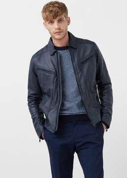 Mango Outlet Leather aviator jacket