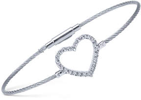 Charriol Women's Laetitia White Topaz Heart Stainless Steel Bendable Cable Bangle Bracelet