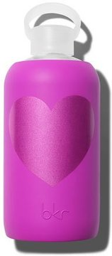 BKR Glass Water Bottle, Molly Heart, 34 oz./ 1 L