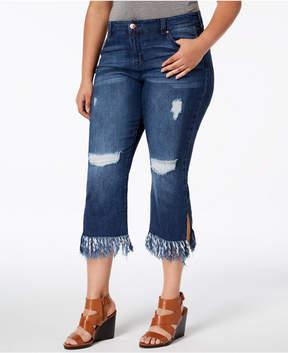 Celebrity Pink Plus Size Destructed Raw-Hem Cropped Jeans