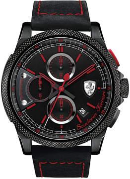 Ferrari Scuderia Men's Chronograph Formula Italia S Black Leather Strap Watch 46mm 830273