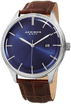Akribos XXIV Mens Brown Strap Watch-A-914ssbu