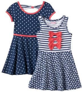 Nannette Toddler Girl Knit Polka-Dot & Striped Skater Dress Set