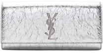 Saint Laurent Metallic Monogramme Kate Clutch in Metallics. - SILVER - STYLE