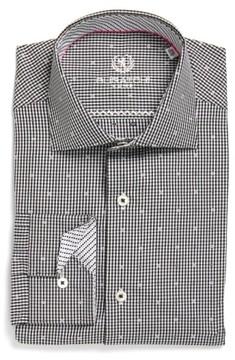 Bugatchi Men's Trim Fit Dot & Check Dress Shirt