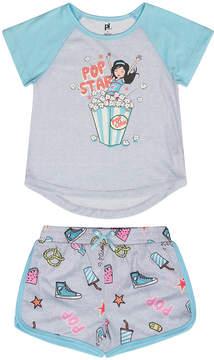 Petit Lem Light Heather Gray 'Pop Star' Pajama Set - Girls