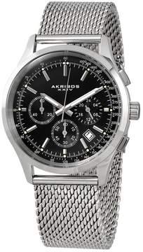 Akribos XXIV Akribos Chronograph Black Dial Stainless Steel Men's Watch